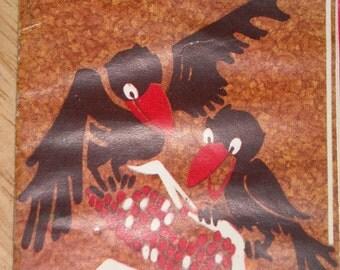 Adorable bridge tally card - 2 blackbirds & ear of corn