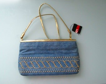 80s Vintage Denim Cross Body Purse or Clutch Gold Studded Trim, Convertible Shoulder Purse NOS