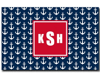 Personalized Navy and White Anchor Plush Fuzzy Area Rug -Size 48x30,  96x44. 96x60