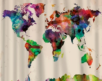 Custom Shower Curtains -Watercolor World Map - Standard or Extra Long