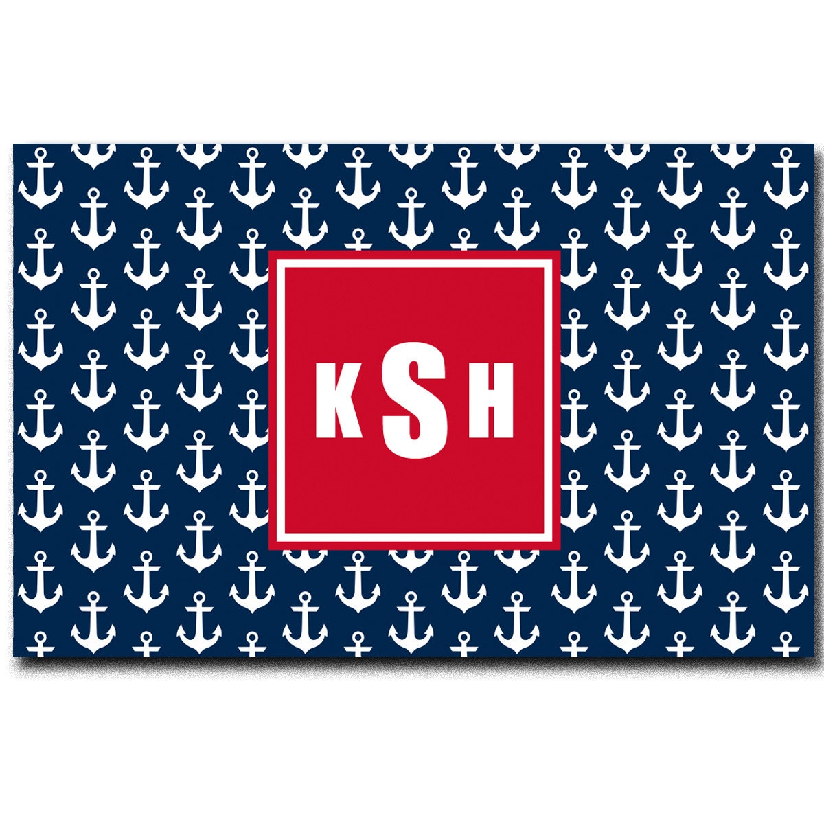 Plush Navy Rug: Personalized Navy And White Anchor Plush Fuzzy Area Rug Size