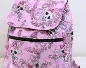 School Kids Backpack Glitter Tattoo Skulls Pink and Black Back to School Machine Washable