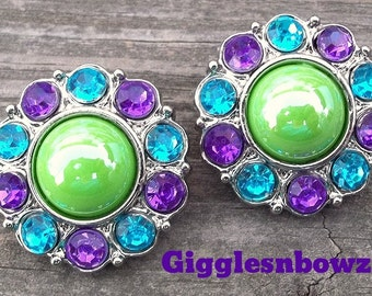 CoLOR HaPPY- Set of 2 SHiNY APPLE GReeN Pearl with PuRPLe and TuRQUoiSE Rhinestone Buttons 25mm