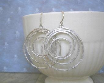 Silver Circle Earrings, Statement Earrings, Mom, Wife, Sister, Best Friend, Girlfriend, Disc Earrings