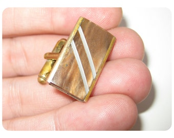 VINTAGE 1960s Retro Austrian Mother-of-Pearl Diagonal Stripe Inlay on Brown Stone Cuff Link with Gold Tone Metal, Slanted Single Link (1pc!)