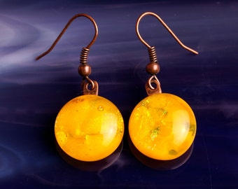 Handmade Dichroic Fused Glass Copper Earrings