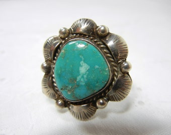 Turquoise ring in sterling silver / genuine turquoise / silver ring / Indian design / gift idea / Sterling ring with Turquoise / Spring