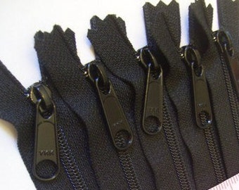 YKK zippers wholesale, 50 black 7 inch Handbag zippers with long pull, YKK 580, great for wristlets, clutches, small bags