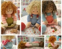 Dolls from the TEAROOM/ Doll/ Toy Knitting Patterns/ 4 variations Knitted Dolls plus Free PDF for A Simply Sewn Pinafore/ INSTANT Download