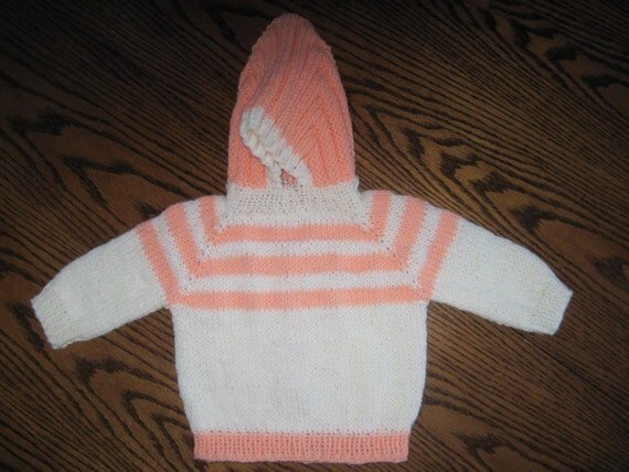 Knitting Pattern For Zip Up Back Baby Sweater : Hand Knit Hooded Baby Infant Sweater Zip Up The by ...