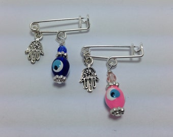 Lucky Evil Eye Safety Pin - Baby protection - New mommy - Baby shower - baptism - birth announcement - stroller - baby gift