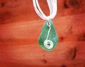 Teal Irish Sea Glass Pendant
