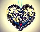 Ceramic Heart Ornament Hand Painted Custom Wedding Gift Anniversary Nautical Navy Anchor Red Heart Gold Green Tattoo Retro Rockabilly