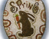 Spring Rabbit Oval Hooked Rug Mat~Paper Rug Hooking Pattern~Design by Cathy G