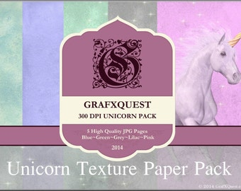 Unicorn paper pack INSTANT DOWNLOAD-5 Pages of Colored Paper Textures For Scrapbooking, Banners, Etc...