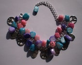 Reserved Listing for Donna ...Peace Sign Charms Live Laugh Love Embrace Colorful Mother Of Pearl Shell Bracelet