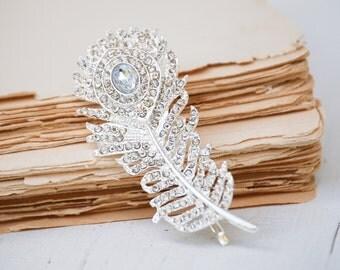 Silver Feather Rhinestone Bobby Pin Wedding Bridal Hair Art Deco Leaf Hair Clip Filigree Silver Rhinestone Rhinestone LEAF Autumn Wedding