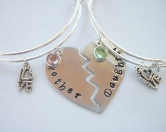 Mother & Daughter Adjustable Bangle Bracelet Set - Special Relationship - Handstamped Aluminum Heart - Swarovski Birthstone Crystal Or Pearl