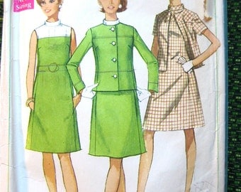 Vintage Simplicity pattern 7437. Misses' Dress and Jacket from the year 1967.  Bust 32.5 inches