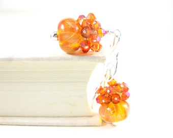 Pumpkin Orange Glass Earrings, Crystal Cluster Earrings, Drop Earrings, Amber Orange Boro Lampwork Earrings, Party Earrings - Pumpkin Mousse