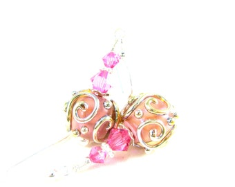 Pink & Silver Glass Earrings, Cottage Chic Earrings, Simple Earrings, Lampwork Earrings, Dangle Earrings, Pastel Pink Earrings - Sweetness