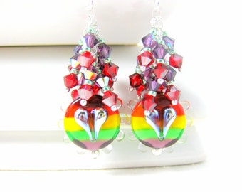 Heart & Rainbow Earrings, Crystal Dangle Earrings, Lampwork Earrings, Colorful Glass Earrings, Hippie Earrings, Pride Earrings - Peace