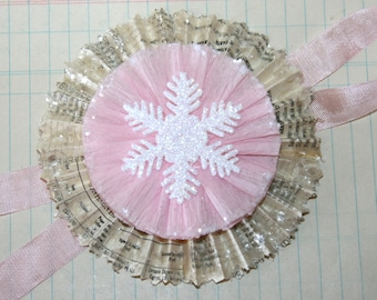 Vintage Text Pink Snowflake and Mica Snow Ornament