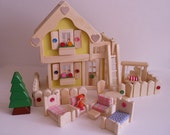 Wooden Doll House, Yellow 2-storey Dollhouse, Natural Wood Furniture Set, Kids Easter gift,Handmade toy, Jacobs Wooden Toys 'SUNNY DAFFODIL'