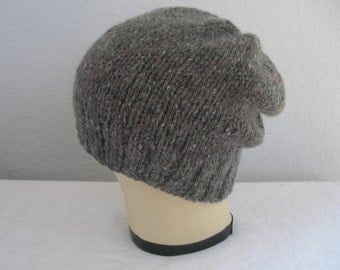Hand Knit Slouchy Beanie. Merino Wool and Angora in Gray Brown Tweed. Accessories.
