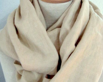 100 Percent Pure Linen Infinity Scarf in Natural Ecru. Extra Long and Extra Wide. Linen Accessories.