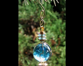 Ice Blue Ornament Recycled Glass Ornament