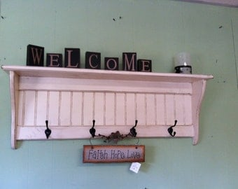 """Wood Coat Rack Country Primitive Antiqued Distressed Wall Shelf Antiqued White 36"""""""