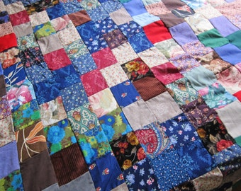 Quilt top 1960s - 70s colorful sturdy cotton, boho fabric, festival tent, unfinished quilt, hippie patchwork,