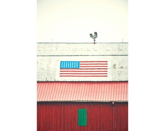 Red Barn Photograph, Country Home Decor ,Farm Photography, Red Barn Art, American Flag Art, Rooster Decor, Farmhouse Decor, Patriotic Art