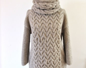 Knit Sweater Oversized Sweater Chunky Knit Sweater Knitted Sweater Cable Knit Beige Sand