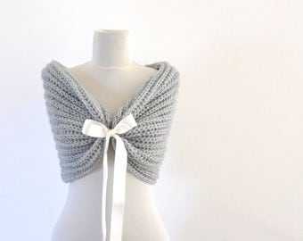 Bridal Cape Wedding Wrap Bridal Shrug with Ribbon Chic Romantic Elegant Gray Grey
