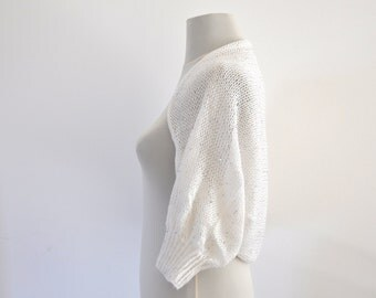 Bridal Shrug Bolero Wedding Jacket Cardigan White Mohair with Silver Sequins