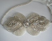 Wedding Headband, Accessories, Hair, Bridal, Rhinestone Headband, Statement Headpiece, Gatsby, Bridal Headpiece, Art Deco- GRETA