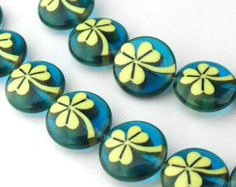 2pcs of 12mm Light Yellow Leaf Millefiori Glass Round Coin Beads