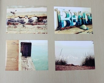 Beach Photography Collection of 4 Prints for Coastal Home Decor and Nautical Nursery Decoration