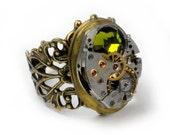Steampunk Vintage Watch N Olivine Crystal Movement Locket Ring