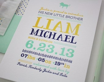 Letterpress Baby Announcements - Custom Letterpress Announcements - Liam