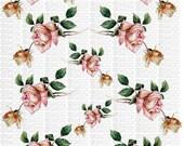 Instant Digital Download Cottage Cabbage Pink Roses Flowers Floral Vintage Era Clip Art  Transparent Background PNG - U Print ECS