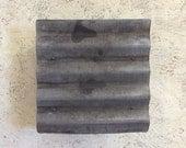 Corrugated Steel Square LIght Sconce/ Horizontal
