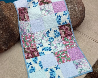 Baby Crib Quilt, Wheelchair Quilt, Floral Quilt, Floral Lap Quilt, Pink and Blues, Big Flowers Baby Blanket Stroller Quilt