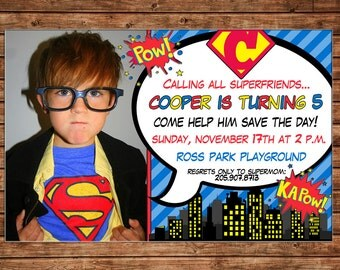 Superhero Super Hero Boy City Bam Pow Comics Birthday Party with PHOTO Invitation - DIGITAL FILE
