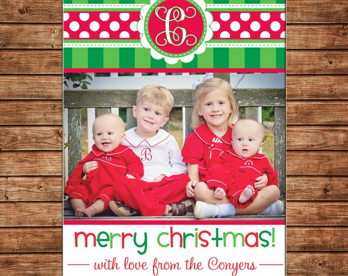 Christmas Holiday Photo Card Whimsical Stripe Polka Dot Monogram - Can Personalize - Printable File or Printed Cards