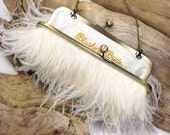 Ivory & Gold Ostrich Feather Purse - wedding purse - clutch - bridal