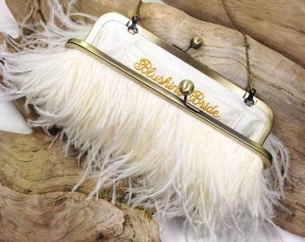 Ivory & Gold Ostrich Feather Purse - wedding purse - clutch - bridal