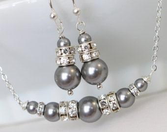 Grey Bridesmaid Jewelry Set, Swarovski Gray Pearl Jewelry Set, Bridesmaid Jewelry Set, Will You Be My Bridesmaid, Mother of the Bride Gift